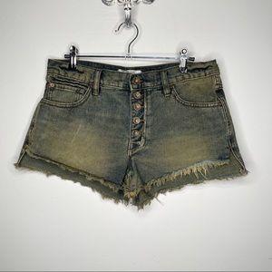 Free People Cut Off Raw Hem Jean Button Up Shorts